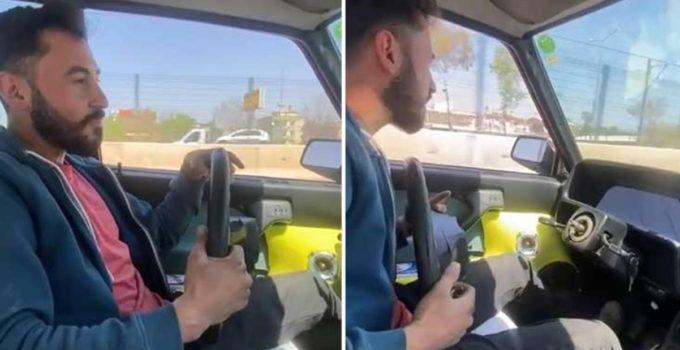 Direksiyonsuz otomobil kullanarak faciaya davetiye çıkaran sürücü yakalandı